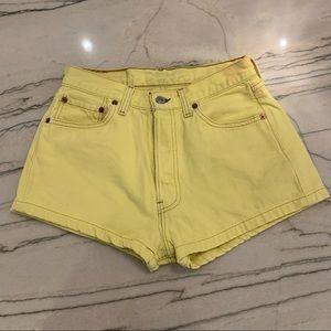 Levi Yellow Denim Shorts - Juniors